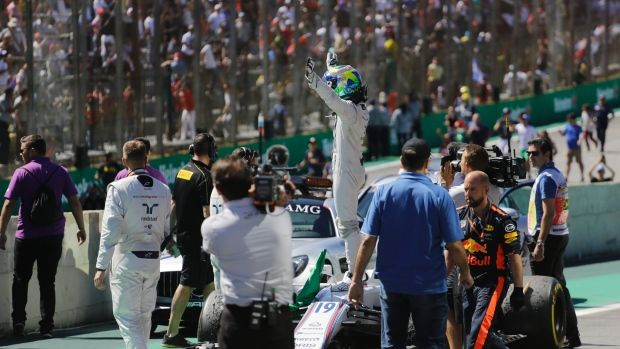 """Nov.12 2017 - Massa says final goodbye to Brazil fans Felipe Massa Felipe Massa said his second and final goodbye to home fans in the Brazilian Grand Prix on Sunday with a seventh-place finish that the Williams driver insisted """"was just like a victory.The 36-year-old Massa delivered one of the best starts of the race and finished ahead of long-time rival Fernando Alonso of McLaren. Felipe Massa, The Canadian Press"""