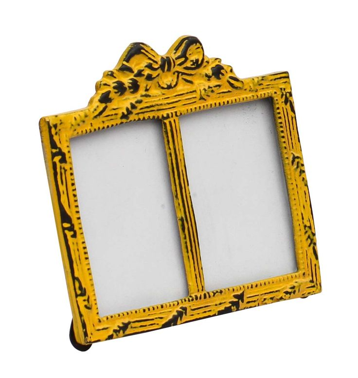 Bulk Wholesale Handmade Double Photo Frame / Picture Stand in Metal Work Decorated with a Bow Design on the Top in Bright Yellow Color with Distressed-Look – Table / Wall Décor – Rustic-Look Home Décor