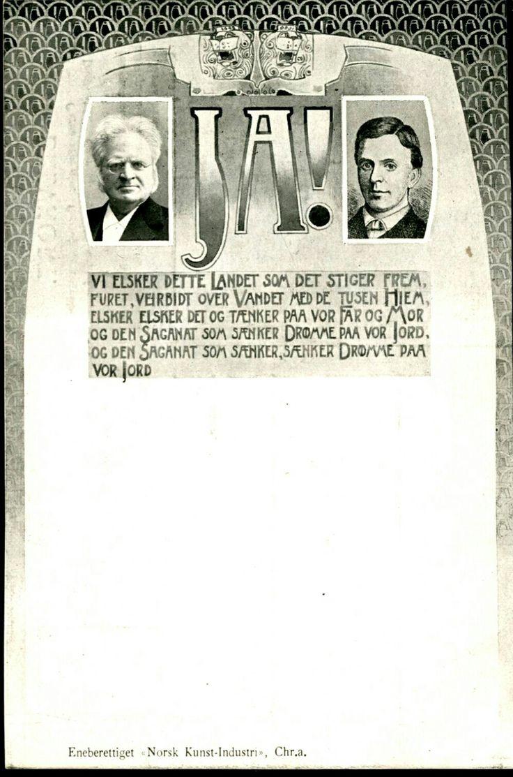 NASJONALSANGEN. Portrett av Bjørnson og Nordraak med 1. vers av nasjonalsangen. Utg Norsk Kunstindustri 1905