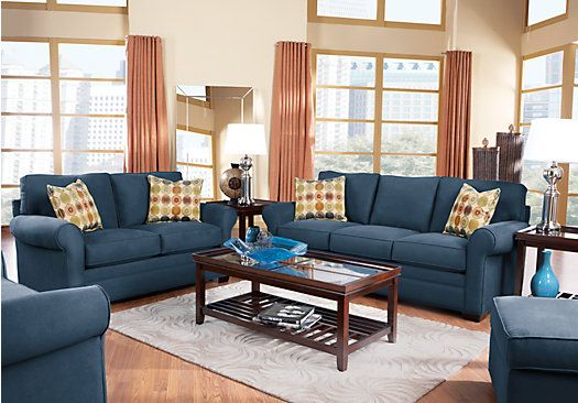 Picture of cindy crawford home bellingham indigo 7 pc living room from living room sets for Cindy crawford living room set