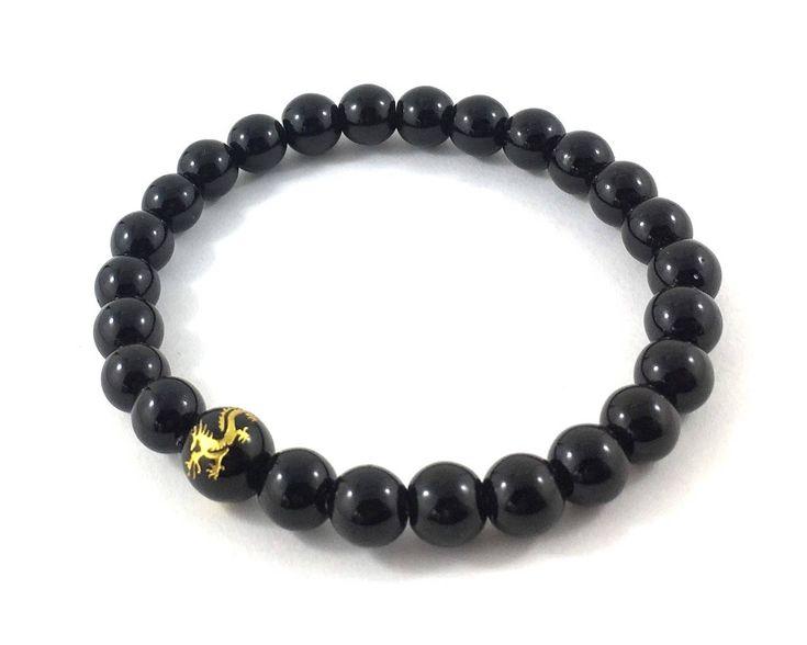 Dragon Snake Mens Beaded Bracelet, Mens Inspirational Jewelry, Obsidians Onyx Mala Beads, Healing Energy Worry Beads, Meditation Bracelet by AthenaisJewelry on Etsy