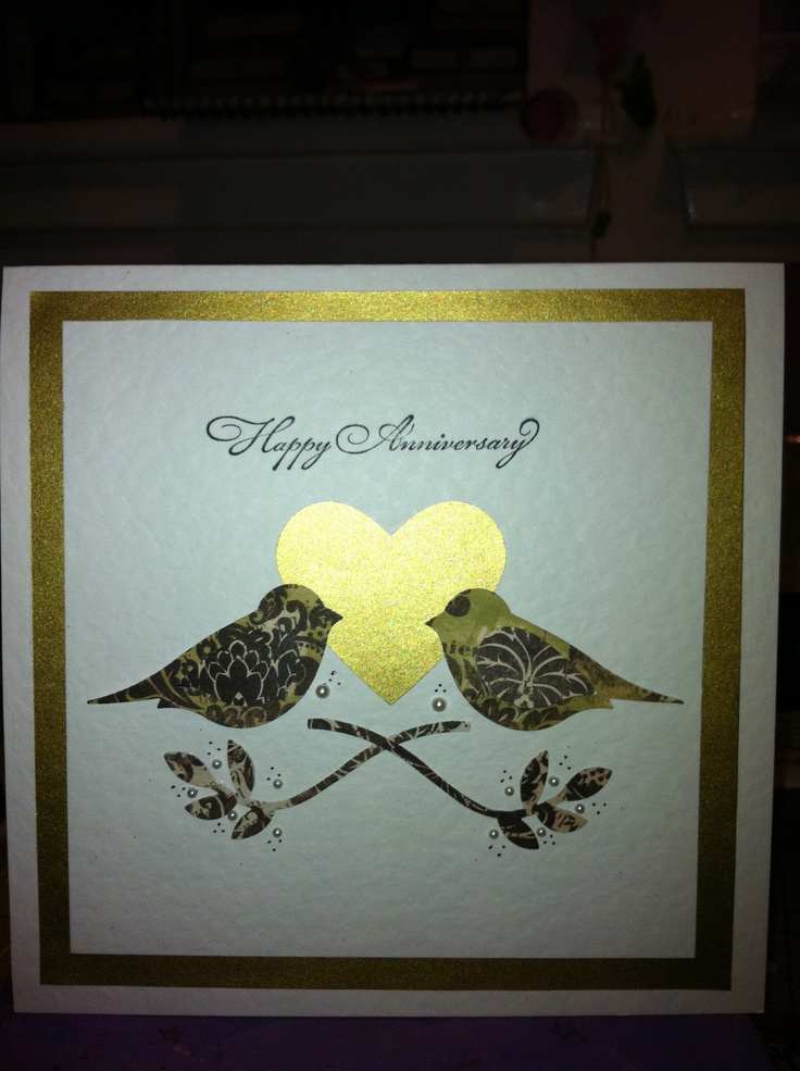 Stampin up bird punch anniversary card
