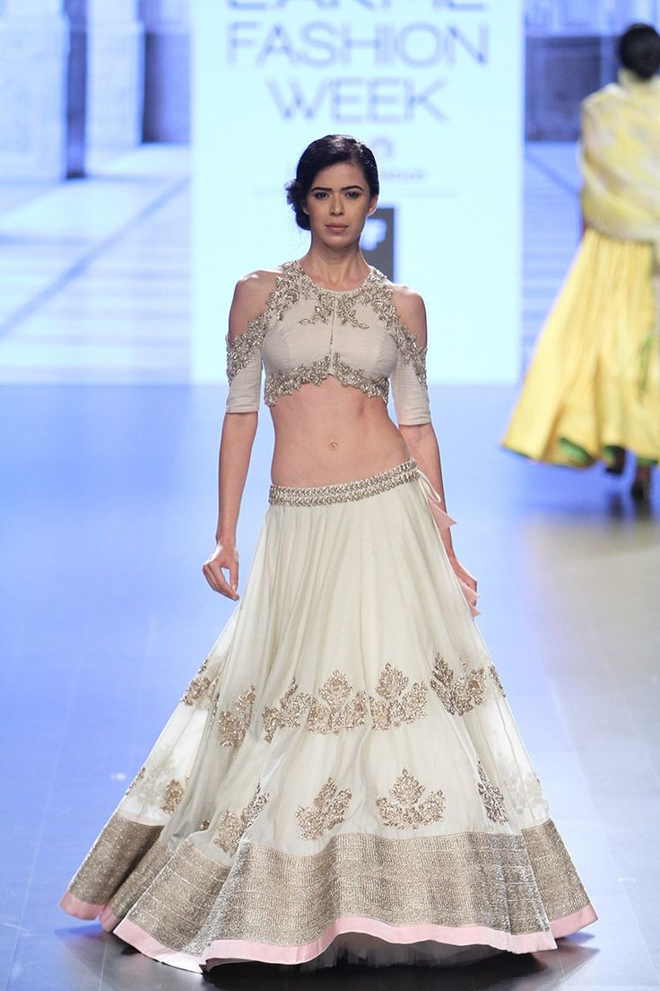 This gorgeous ivory white Anushree Reddy lehenga is perfect for a summer wedding #LFW #LIFW2016 #Frugal2Fab