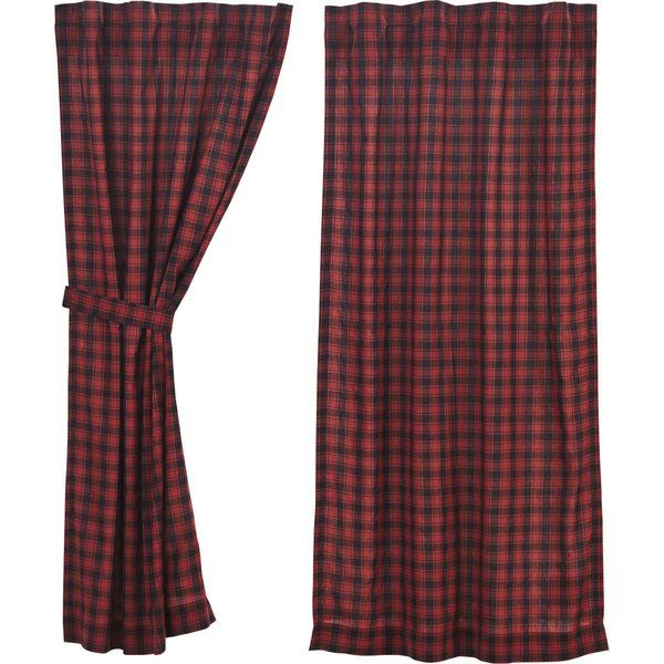 Dorval Lined Room Darkening Rod Pocket Curtain Panels Red And Black Plaid Curtains Vhc Brands