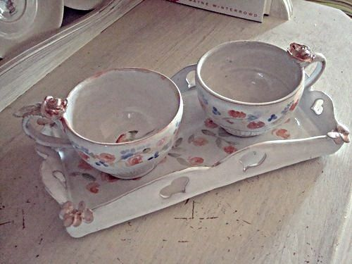 Two coffee cups and tray... Original nostalgic by DixieGarden