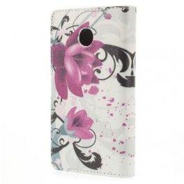 Huawei Ascend Y330 violetit kukat puhelinlompakko.