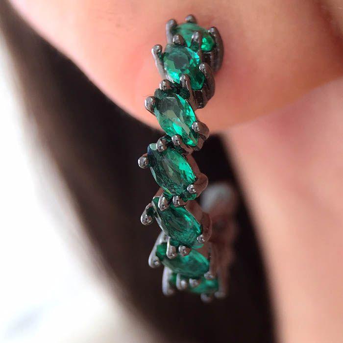 Compre Brinco argola esmeralda em rodio negro semi joias da moda na Waufen ✓ Semjoias Finas ✓ Ótimos Preços ✓ Entrega Rápida e Segura ✓ Pgto em até 12 Vezes