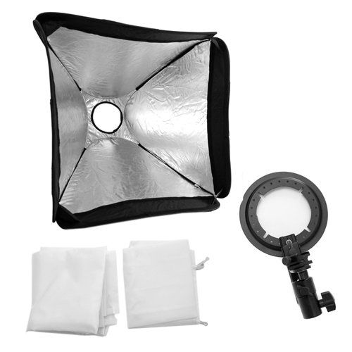 GTMax 24'' 60x60cm Portable Foldable off Camera Photo / Video Large Speedlite Flash Softbox with L-Bracket, Shoe Mount and Carry Case for Nikon Canon Speedlite EX430 EX580 SB600 SB800 or and Speedlite