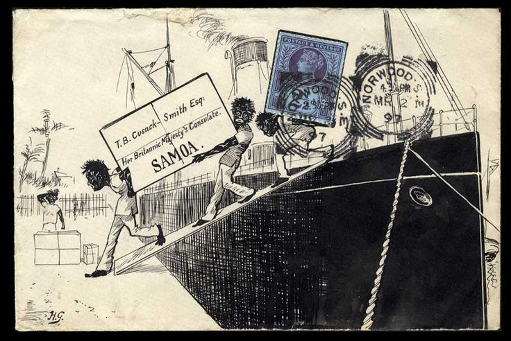 a superbly hand illustrated envelope from Norwood to the British Consulate in Samoa, 1897