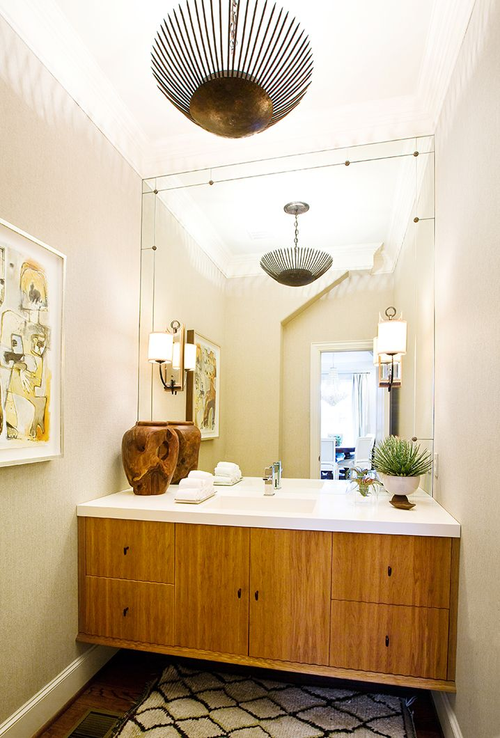 Floating Vanity In An Eclectic Bathroom Full Wall MirrorsBath