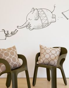This Blik wall decal is based on Threadless t-shirt design Incredible Circus by Chow Hon Lam.