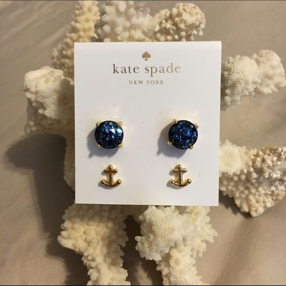 Kate Spade Blue Glitter & Anchor Earring Duo Fabulous Kate Spade earring duo. Includes gold-tone blue glitter earrings and gold-tone anchor earrings. Never worn. Super cute with a nautical feel! ⚓️ kate spade Jewelry Earrings
