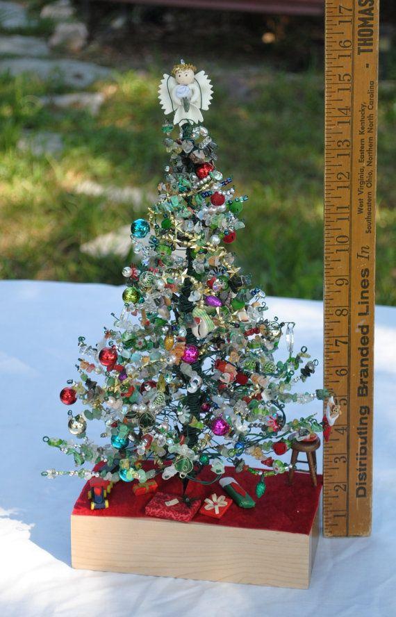 Handmade wire Christmas tree scene; lighted Christmas tree