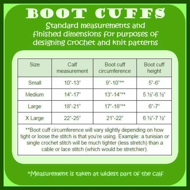 Crochet boot cuff size chart.
