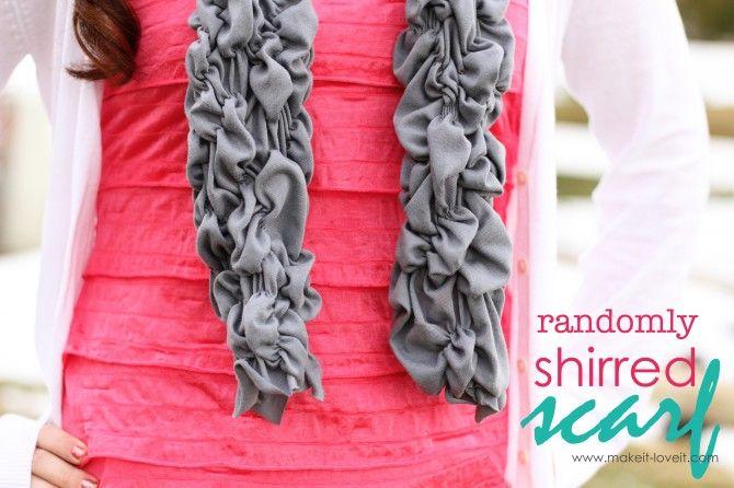 Randomly Shirred (and Stretchy) Scarf: Sewing Projects, Shirred Scarfs, Random Shirred, Shirts Scarves, Cute Scarfs, Scarfs Ideas, T Shirts, Sewing Machine, Scarfs Tutorials