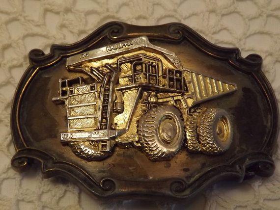 1980 Raintree Distressed Brass Belt Buckle, 170 Haulpak,  Made in USA, Big Truck Belt Buckle for a Big Trucker