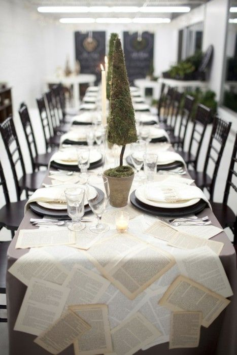 Zsa zsa Bellagio. Love the table runner!: Book Club, Old Book Pages, Dinner Parties, Sheet Music, Parties Ideas, Tables Runners, Table Runners, Bookclub, Graduation Parties