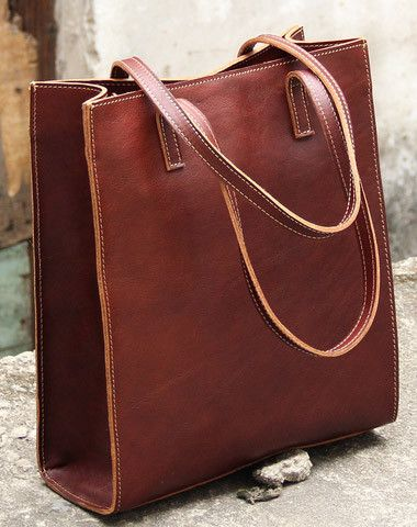 Handmade Vintage Rustic Leather Normal Tote Bag Shoulder Handbag For Women
