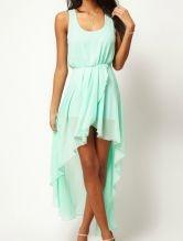 Light Green Scoop Neck Sleeveless Asymmetrical Mid Waist Chiffon Dress $36.48