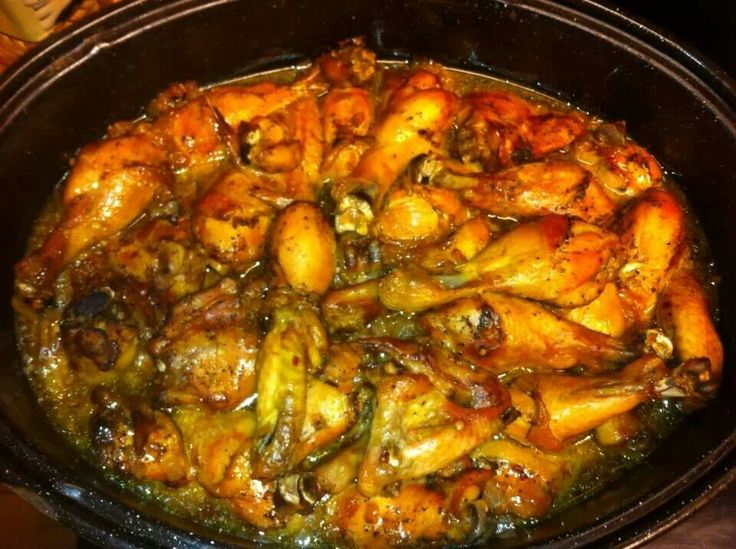 Roasted chicken...all you need is chicken legs and wings, 3 dry mix packages (ranch, zesty italian salad dressing, and brown gravy mix), black pepper and red pepper flakes. Clean chicken, put in roasting pan, drizzle with evoo, rub seasoning in , and add 2 cups of water. Bake on 375 til done. You can uncover and broil for a few mins to brown the chicken.