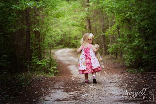 Walk in the woods with favorite stuffed animal.  Three year old photo shoot. Suzy Q Photography