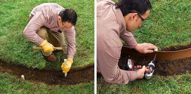 Вбейте деревянные бруски размером 2.5х2.5х30см на расстоянии около 45 см друг от друга. Шурупами прикрепите к ним гибкую ленту из оргалита или ДВП