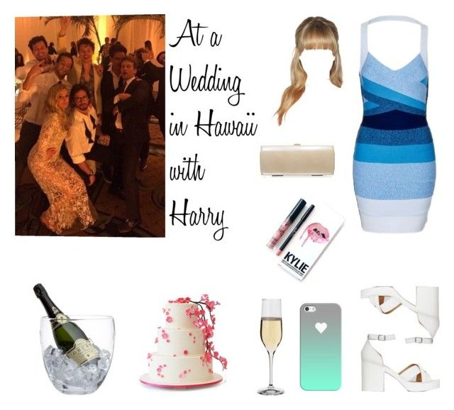"""At a Wedding in Hawaii with Harry"" by tayler-dukes ❤ liked on Polyvore featuring Topshop, New Look, Russell & Bromley, Casetify, Kylie Cosmetics, Crate and Barrel, Dartington Crystal, OneDirection and harrystyles"