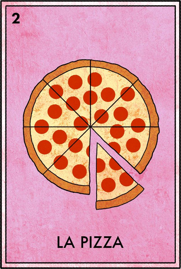 Spin it once or twice, pick the pepperonis off the slice...
