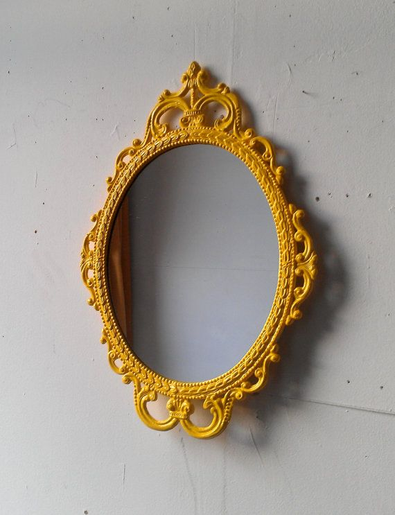 framed oval mirror in vintage metal frame 17 x 12 inch handpainted brass in bright yellow