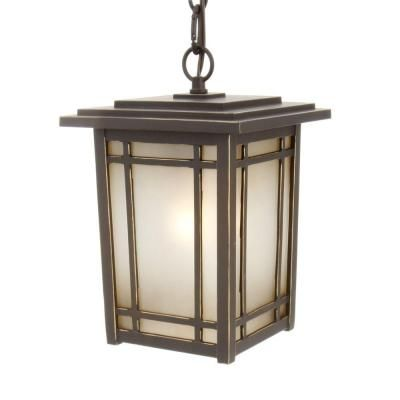 Hampton Bay Port Oxford Hanging Mount Outdoor Oil Rubbed Chestnut Lantern At The Home Depot Mobile