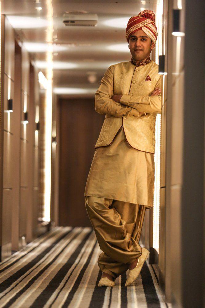 Indian Groom Wear - WedMeGood #golden #pathanisuit #wedmegood