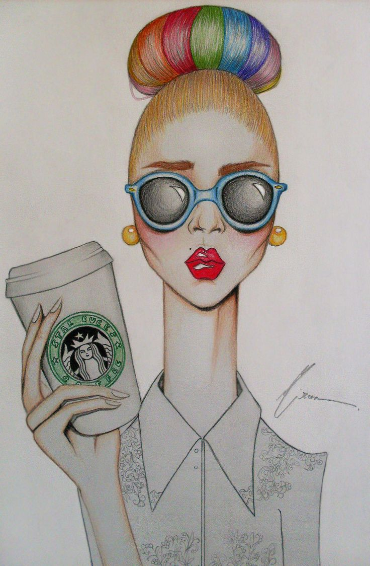Haha, this is cute, art girl, coffee, starbucks, drawing