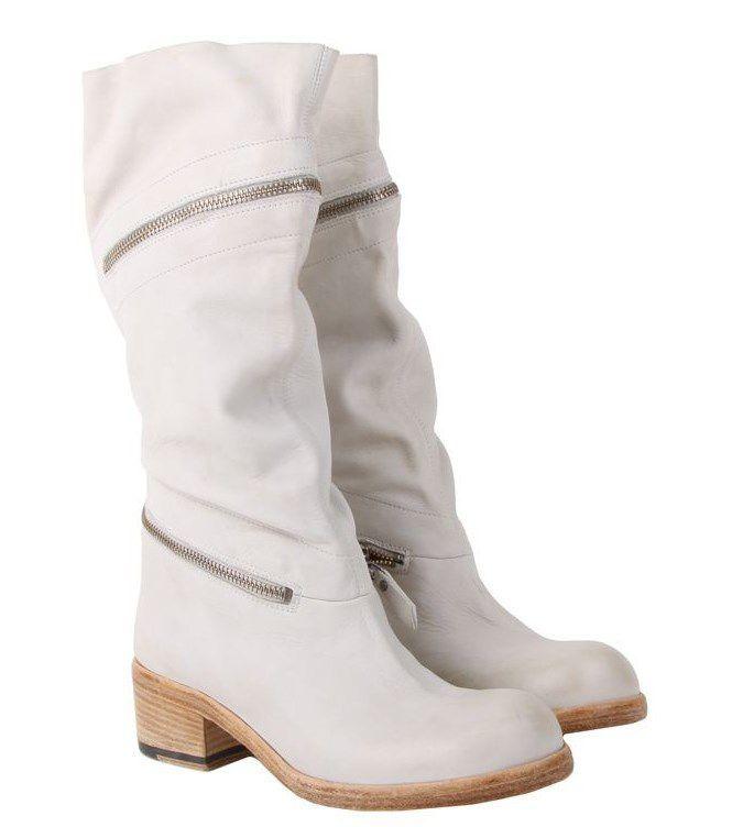 vic matie Белые кожаные женские сапоги бренда Vic Matie