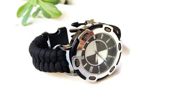 #survival #survivaltools Black watch men- Paracord watch- Athletic watch- Black band watch – Buckle strap watch – Boyfriend gift- Dad gift watch – Sur…