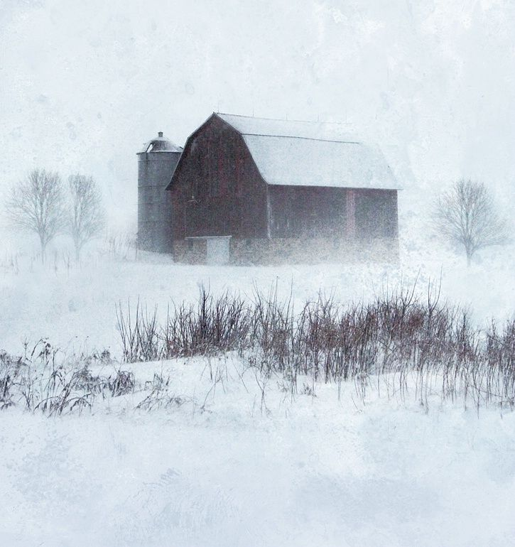 Barn in a snow storm.