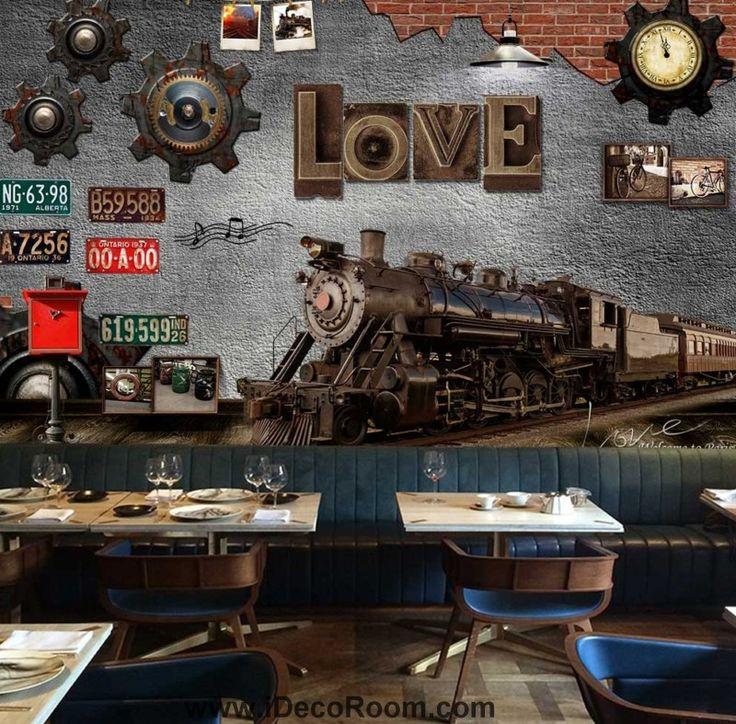 Metal Train Typograhpyc Letter  Art Wall Murals Wallpaper Decals Prints Decor IDCWP-JB-000876