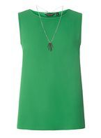 Womens Green Sleeveless Top- Green