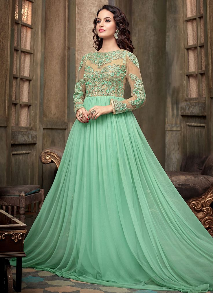Light Sea Green Net Floor Length Anarklali Suit