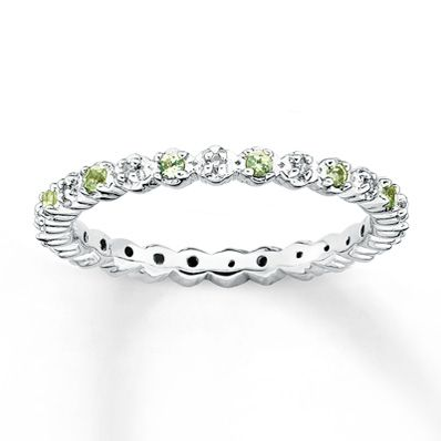 Stackable Peridot Ring 1/20 ct tw Diamonds Sterling Silver