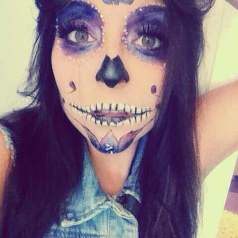 Mexican skull makeup #makeup #carnival #halloween #costume #transformation