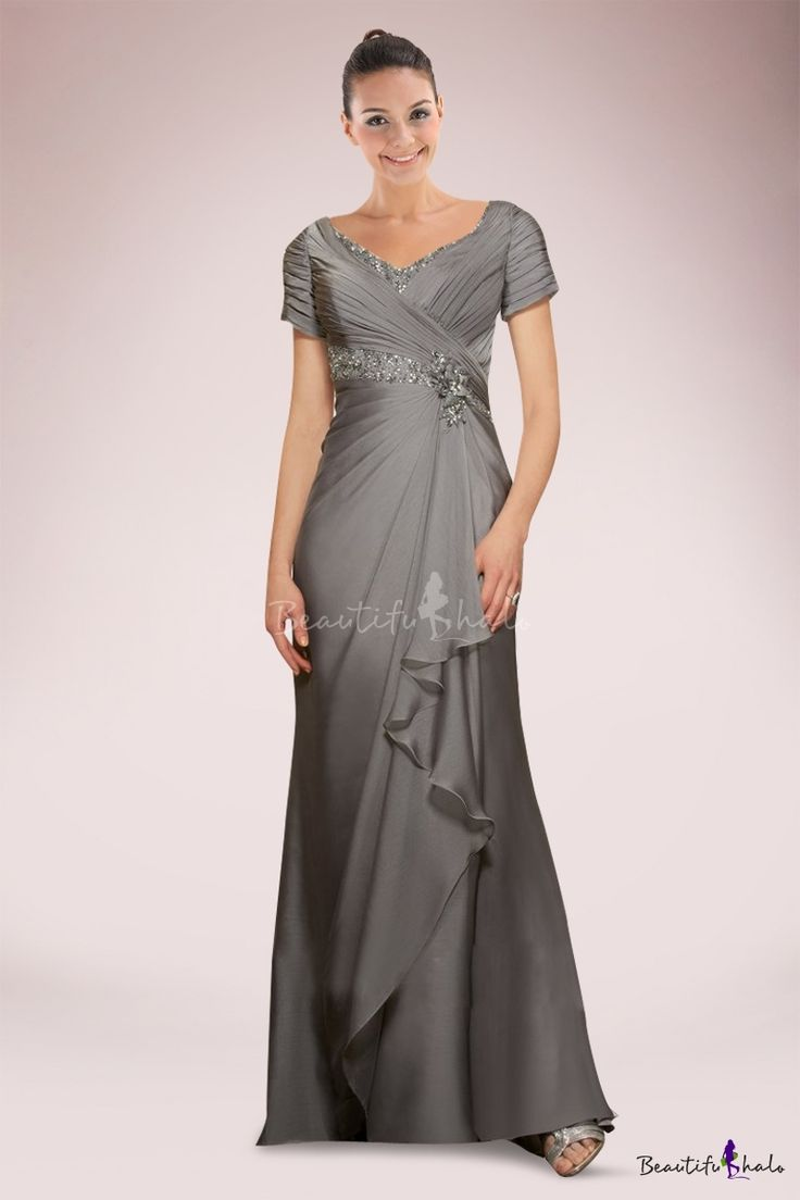 Elegant Chiffon A-line Mother of Bride Dress Adorned with Beaded Details and Exquisite Pleats - Beautifulhalo.com