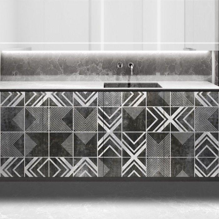 Vinilo para forrar muebles bajos de cocina con diseño de losas geométricas desgastadas #lokolokodecora