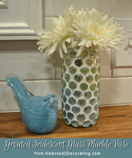 grouted glass marble vase