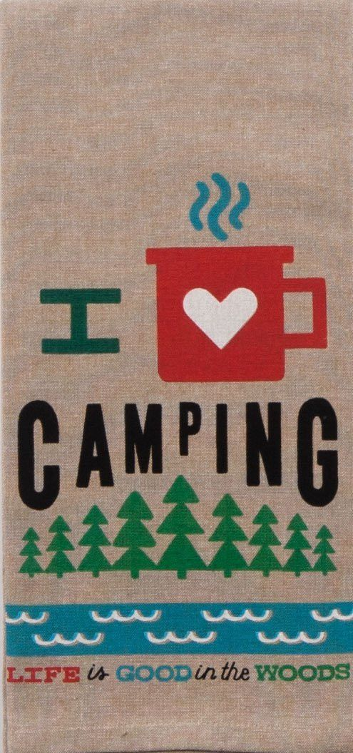 This 100% cotton tea towel is the perfect way to express you love of camping. Measures 18 in x 28 in.