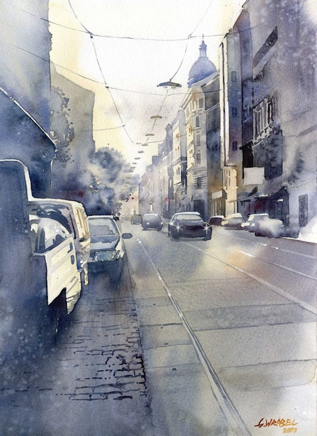 Poland-based artist Grzegorz Wróbel is an architectural designer and artist who paints both traditional and modern architecture in his stunning street scenes.  I love the light flares in this painting.