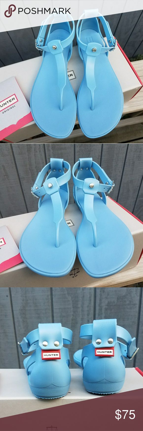 "Hunter Original T-Bar Sandals - Thong toe - Adjustable ankle buckle closure - Back brand logo tab - Approx. 0.75"" heel - Made in Italy - Rubber upper, rubber sole - Color: Blue Sky Hunter Shoes Sandals"
