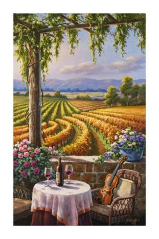 Vineyard and Violin by Sung Kim