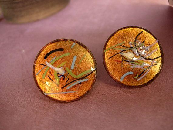 Vintage Enamel Earrings Fiery Copper hand by vintagesparkles, $30.00