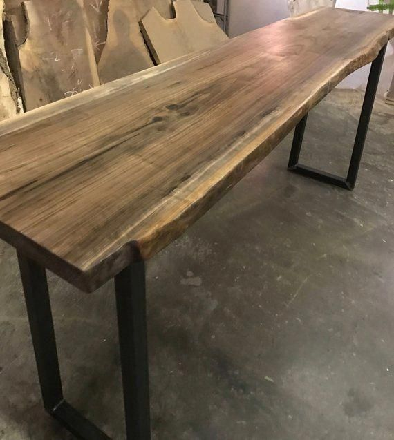 Live Edge Bar Table Tops - Black Walnut With Industrial Metal Table