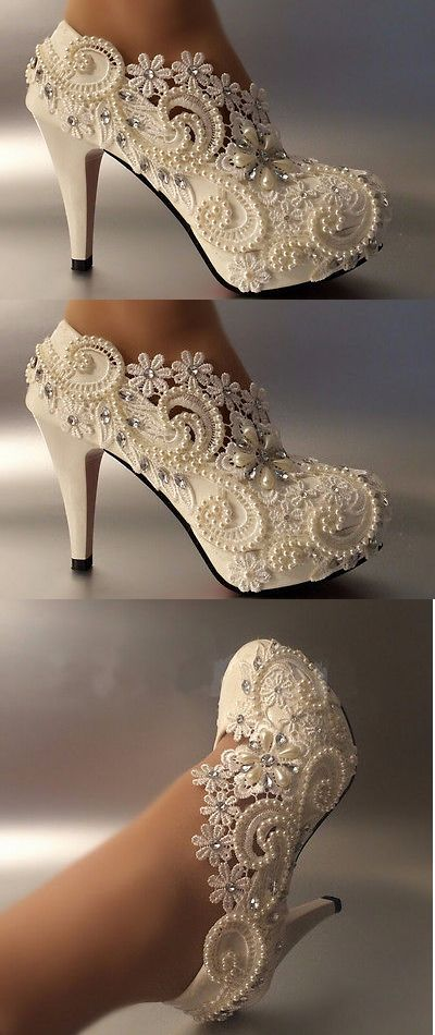 Wedding Shoes And Bridal Shoes: 3 4 Heel White Ivory Lace Crystal Pearls Wedding Shoes Pumps Bride Size 5-9.5 BUY IT NOW ONLY: $32.99